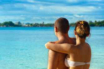 adult affection back view beach